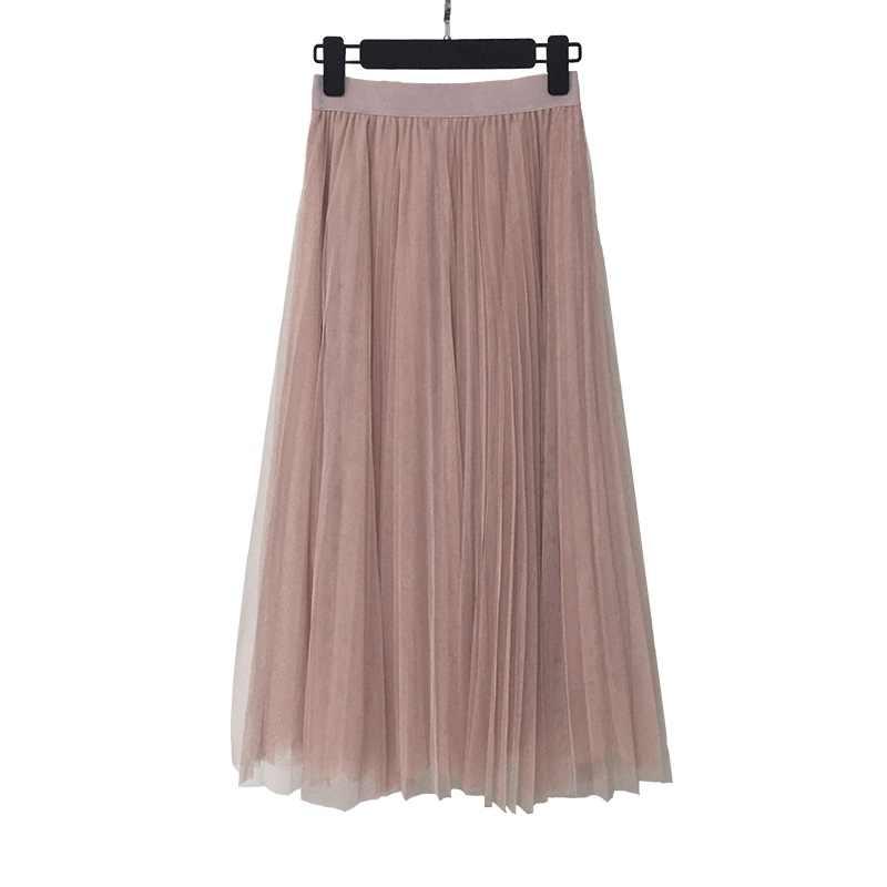 056d3f74e0 ... 2019 Primavera Verano Vintage faldas de cintura alta malla de tul falda