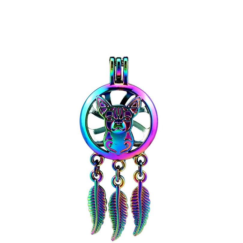 Pendants 2019 Latest Design C792 5pcs/lot Rainbow Color Beaty Dream Catcher Dog Leaf Cage Pendant Pearl Locket Fairytale Party Jewelry & Accessories
