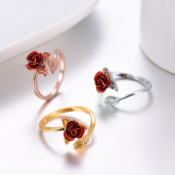 U7 Red Rose Garden Flower Leaves Resizable Finger Rings for Women Valentine's Day Gift 2
