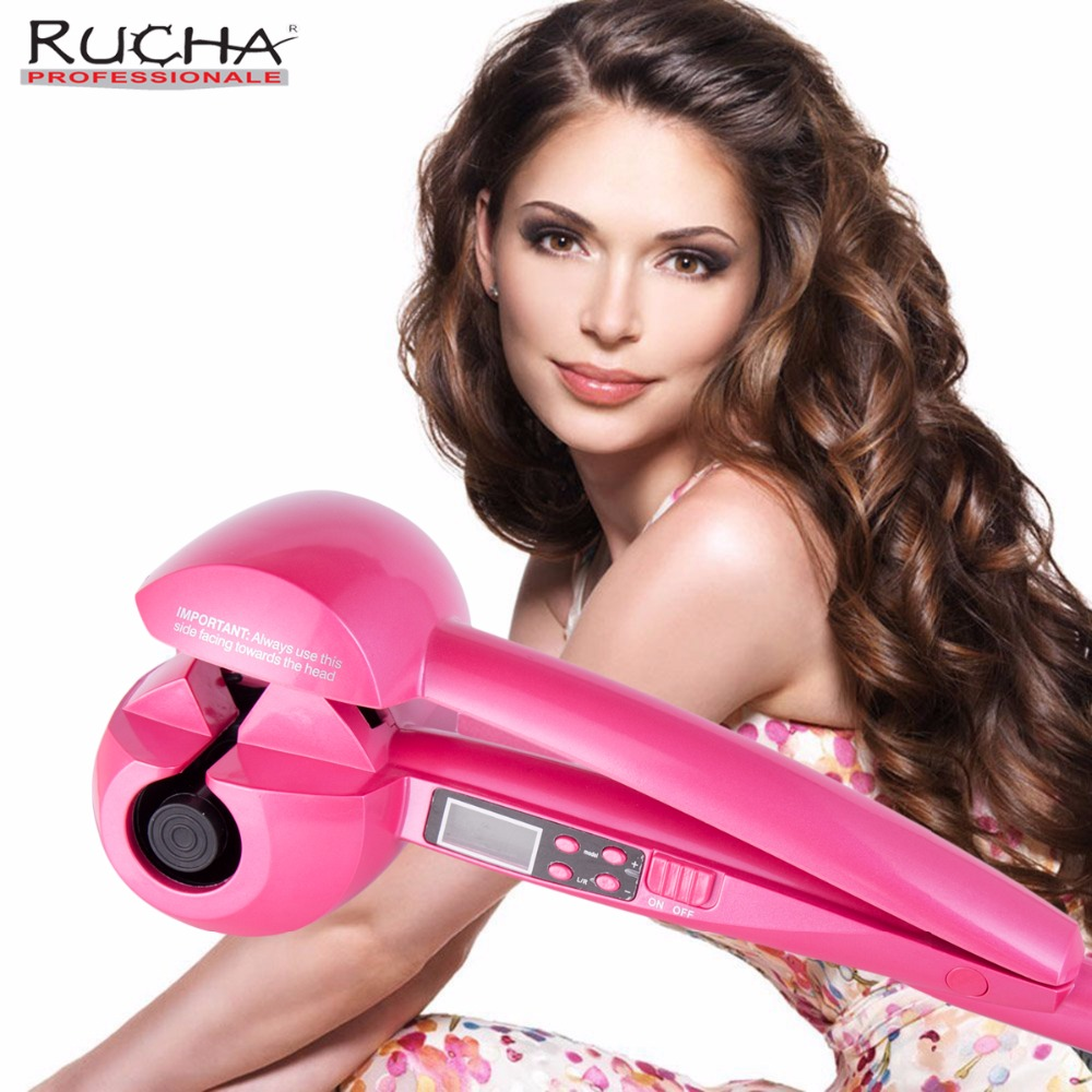 RUCHA Automatic Hair Curling Iron Ceramic Curling Iron Wand Roller Wave Machine Hair Styler with LCD