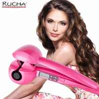 RUCHA Automatic Hair Curling Iron Ceramic Curling Iron Wand Roller Wave Machine Hair Styler with LCD Digital Display Sprial Tool