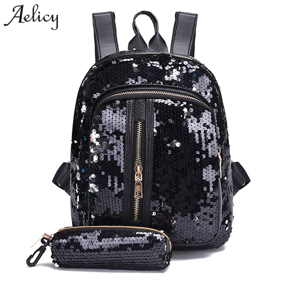 Aelicy 2018 Fashion Sequins Women leather Backpacks Bling Female Fashion Backpack Bag Girls School bags travel bags women sequins backpack female fashion bling bling children backpacks mini bags ladies casual shoulder bags for teenager girls