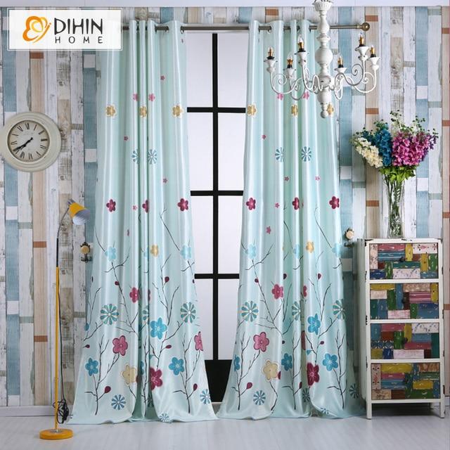 dihin 1 pc motif fleur cartoon rideaux occultants pour enfants enfants salon la chambre rideau. Black Bedroom Furniture Sets. Home Design Ideas