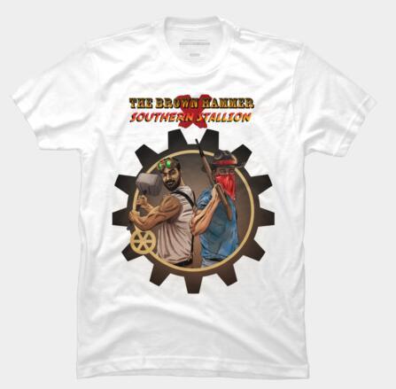 Brown Hammer x Southern Stallion T Shirt O Neck short Men casual T-Shirt summer Tees Short Sleeve T Shirt Hip Hop Homme Tees