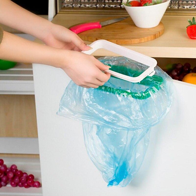 Mini Portable Kitchen Tool Plastic Garbage Door Trash Bag Can Rack Holder