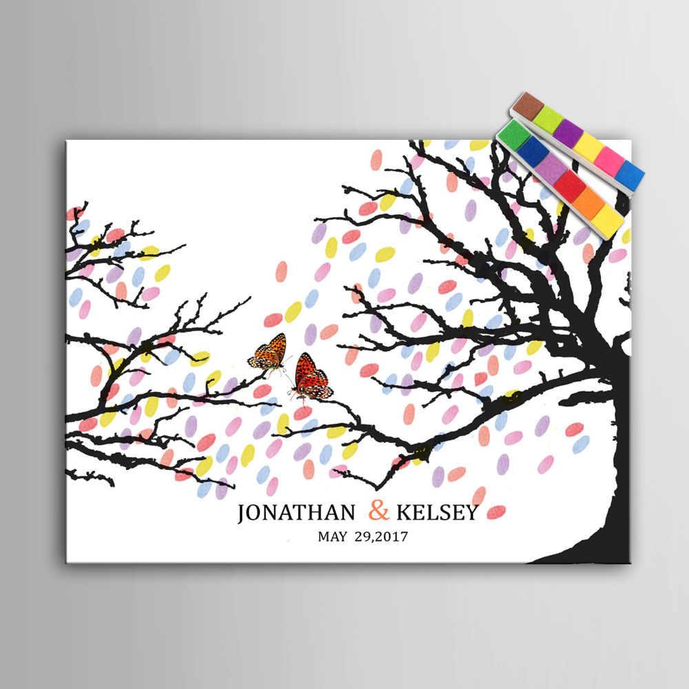 指紋ツリー署名キャンバス絵画a支店結婚式ギフトパーティーギフトウェディングdiy装飾(インクルード6Ink色)