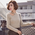 2016  New Fashion Women's Spring Sweater Female Outfit Korean Cultivate One's Morality Short Long-Sleeved Sexy