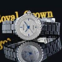 Роскошные зубец Установка Полный CZ Кристалл Керамика леди Для женщин часы прекрасно Мода Часы браслет девушки подарок Королевская корона к
