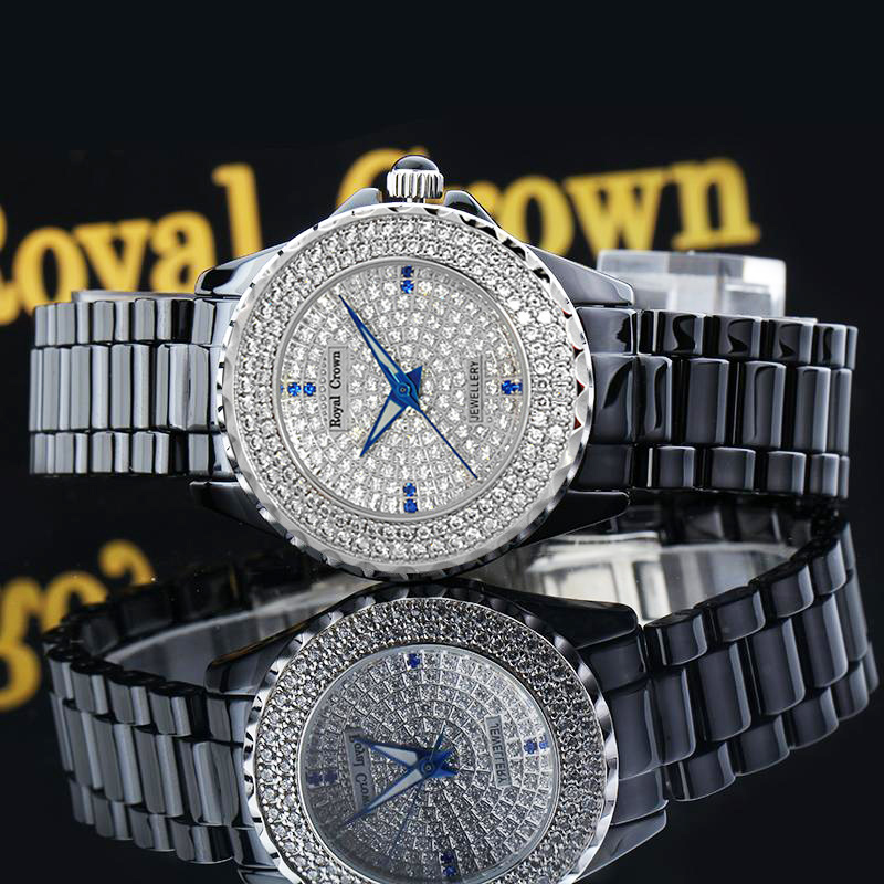 Luxury Prong Setting Full CZ Crystal Ceramic Lady Women's Watch Fine Fashion Clock Hours Bracelet Girl's Gift Royal Crown Box claw setting men s watch women s watch sapphire crystal fine clock stainless steel bracelet luxury lovers gift royal crown box