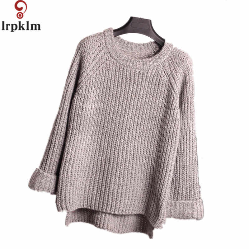 2017 Spring Autumn Oversized Red Gray Knitted Sweater O-Neck Long-Sleeve Loose Solid Color Women Sweaters And Pullovers YY492
