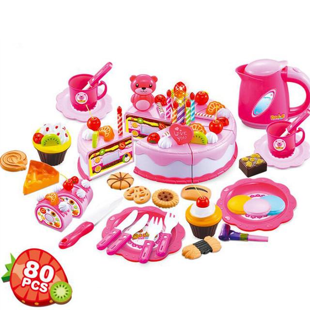 80Pcs/Set Children Birthday Cake DIY Model Toys