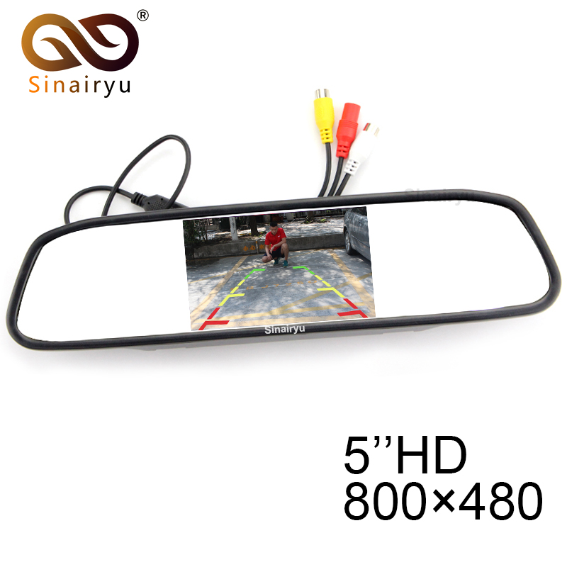 Sinairyu M500 10PCS Wholesale HD 800*480 5 inch Digital TFT LCD Full Color Mirror Parking Car Monitor With 2 Video Input