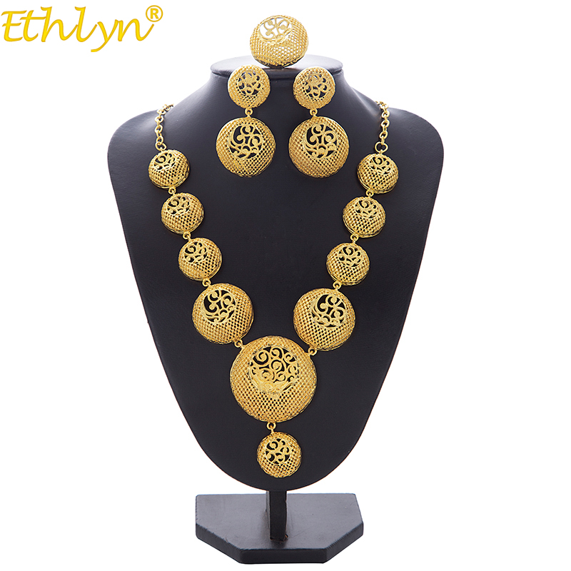 Ethlyn Necklace/Earrings/Ring Jewelry Set For Women Girls Gold Color Round Arab/Ethiopian Bridal Wedding/Party Gifts S194Ethlyn Necklace/Earrings/Ring Jewelry Set For Women Girls Gold Color Round Arab/Ethiopian Bridal Wedding/Party Gifts S194