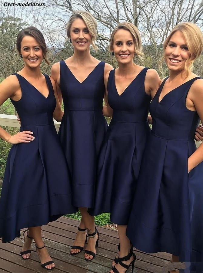 Navy Hi-Lo Simple   Bridesmaid     Dresses   2019 Satin A-Line V-Neck Zipper Back Tea-Length Wedding Party   Dresses   Prom   Dresses