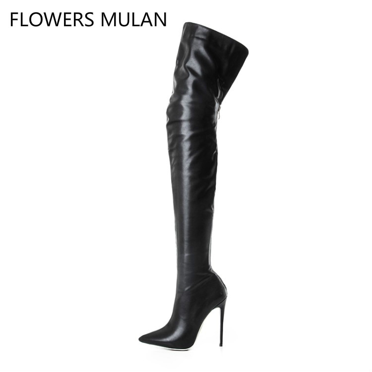 Latest Design Fashion Sexy Pointed Toe Black Genuine Leather Boots Shoes Woman Super High Thin Heel Concise All Match Footwear hot super bright h7 8 led white car vehicle bulb fog driving daytime light lamp 12v d2tb