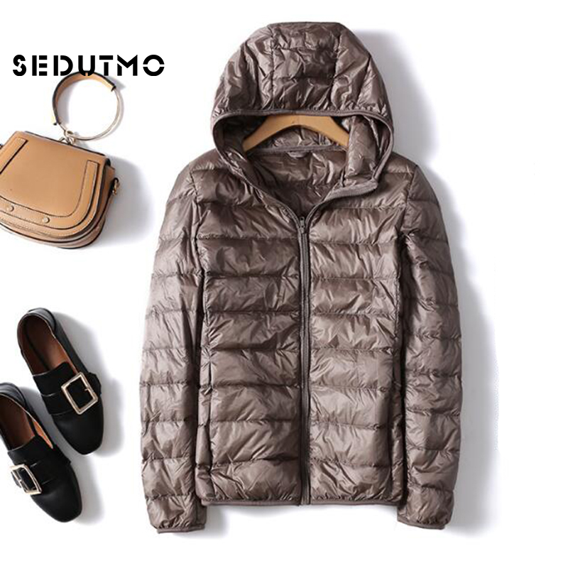 SEDUTMO Winter Plus Size 4XL Women   Down   Jackets Short Ultra Light Duck   Down     Coat   Hooded Puffer Jacket Autumn Parkas ED498