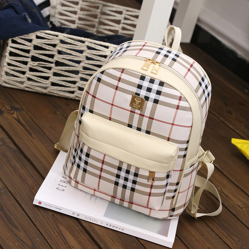 2017 Summer Women Plaid PU Leather Backpack Small Minimalist School Bags For Teenager Girls Feminine Backpack