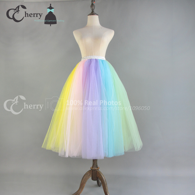 d4d143a36 2017 Adult Rainbow Tutu Skirt Midi Tulle Skirt Women Dance Skirts Cosplay  High Waist Custom Made Ukaine Vintage Plus Size