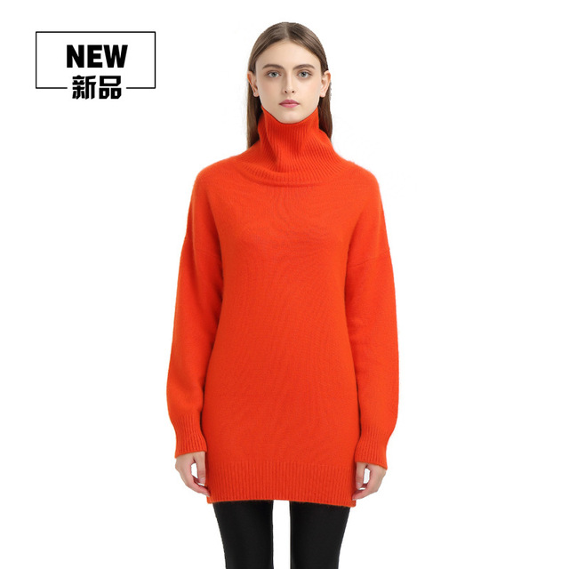 a5cac7535b Purebliss 2017 women 100 cashmere oversize orange turtleneck sweater  knitted runway split up royal blue grey white long pullover