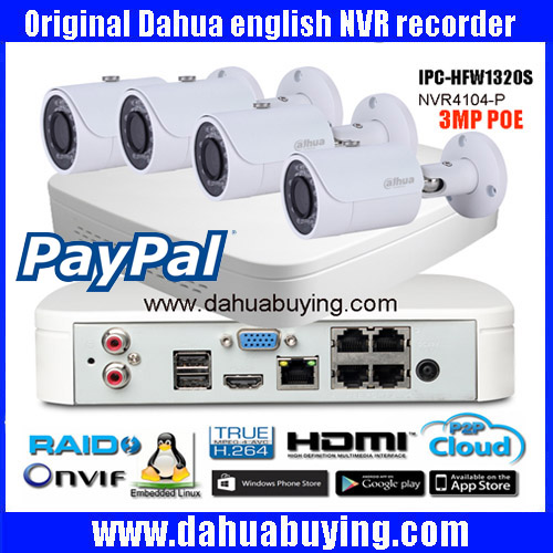 Original english firmware Dahua Onvif 4ch POE 1080P NVR Kit DH NVR4104 P with 3MP bullet