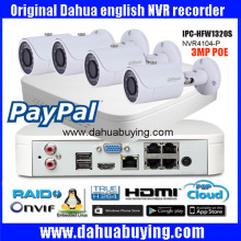 Original english firmware Dahua Onvif  4ch POE 1080P NVR Kit DH-NVR4104-P with  3MP bullet POE IP Camera IPC-HFW1320S  System