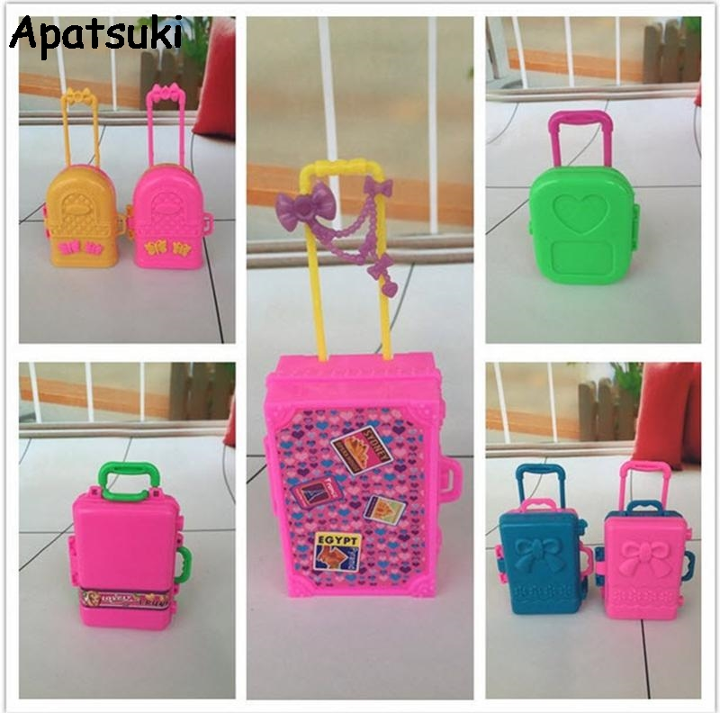 5pcs/lot 3D Miniature Kids Toy Children Toys Travel Train Suitcase For Barbie Dolls House Luggage Case Doll Dress Storage Case galaxy s7 edge geekbench