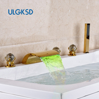 ULGKSD Golden Deck Mounted Bathtub Mixer Taps Waterfall Tub Sink Faucet Widespread 5pc with LED Light