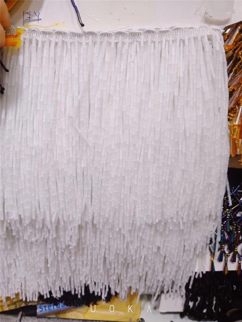 Stock 5 yardas/bolsa BZL 4.1906 cuentas blancas flecos de borla 15 cm de ancho para vestido de novia/sexy vestido/vestido de fiesta-in Tela from Hogar y Mascotas    1