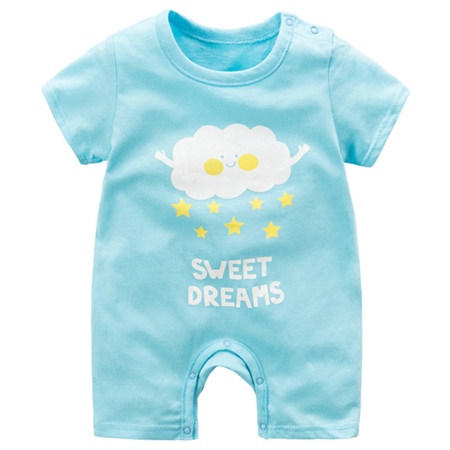 baby clothing 100% cotton unisex rompers baby boy girls short sleeve summer cartoon toddler cute Clothes  2
