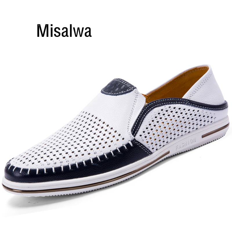 Misalwa Lightweight Summer Men Casual Shoes Genuine Leather Male White Sneakers Handcrafted Brand Slip-on Men Loafers Breathable