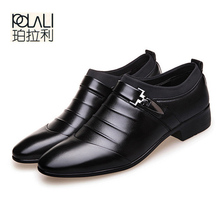 POLALI 2018 black brown white men 가죽 shoes 망 첨 발가락 dress 화 (high) 저 (quality 공식적인 slip 에 hollow out 샌들 man(China)