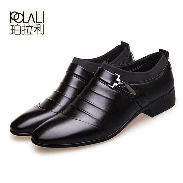 c481c5a0fa7fb3 POLALI 2018 zwart bruin wit mannen lederen schoenen heren wees teen jurk  schoenen hoge kwaliteit formele slip hollow out sandalen man