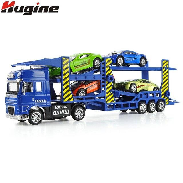 Double-Deck Trailer Flatbed Mobil Model Mainan Transporter Paduan Kendaraan Rekayasa Model Simulasi 1:50 Mainan Anak-anak Model Truk