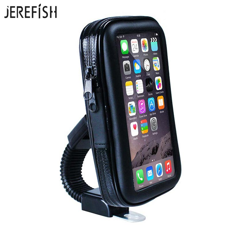 official photos f6004 6fc49 US $7.6 24% OFF|Aliexpress.com : Buy JEREFISH Waterproof Motorcycle Mobile  Phone Holder Bag Mount Stand Cellphone Case for iPhone 6S Plus 7 8 8Plus ...