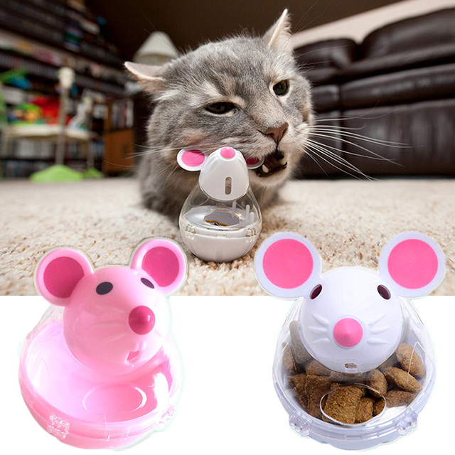 Cat Toys Pet Feeder Toy Cute Mice Shape Food Rolling Leakage Control