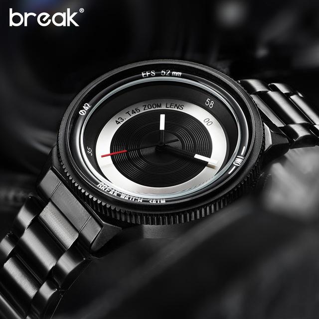Break original nova unique luxury men moda unissex esportes casual cool câmera do fotógrafo t45 criativo relógios de quartzo para as mulheres