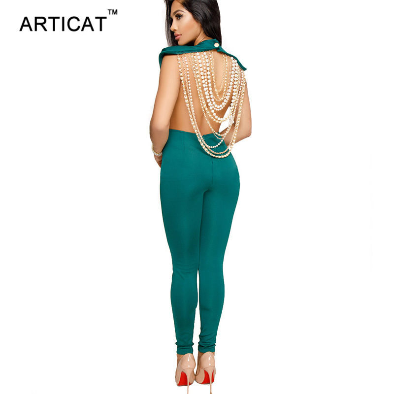 Articat Pearl Chain Sexy Backless Jumpsuit Women Sleeveless Skinny Bodycon Rompers Women Party Overalls Casual Tassel Playsuits