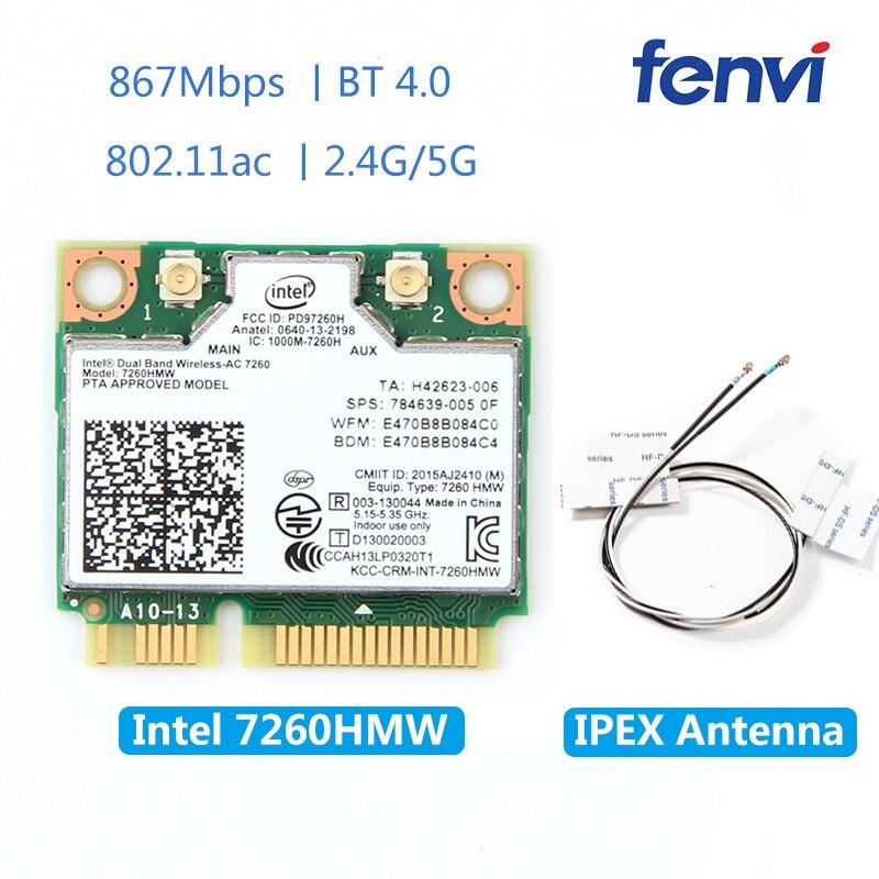 7260hmw sem fio mini cartão de wifi pci-e para intel ac 7260 banda dupla 867 mbps 802.11ac 2.4g/5g bluetooth 4.0 + 2x u. fl antena ipex