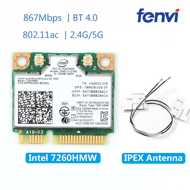 Wireless 7260HMW Mini PCI-E Wifi Card For Intel AC 7260 Dual Band 867Mbps 802.11ac 2.4G/5G Bluetooth 4.0 + 2x U.FL IPEX Antenna