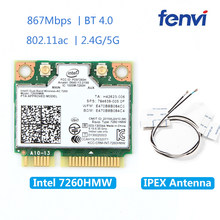Drahtlose 7260HMW Mini PCI-E Wifi Karte Für Intel AC 7260 Dual Band 867 Mbps 802.11ac 2,4G/5G bluetooth 4,0 + 2x U. FL IPEX Antenne(China)