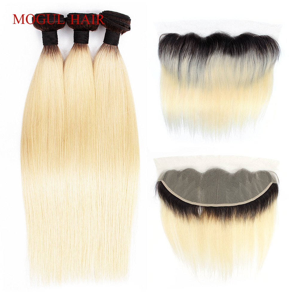 MOGUL HAIR 1B 613 Dark Root Platinum Blonde Bundles with Frontal 2 3 Bundles with Frontal