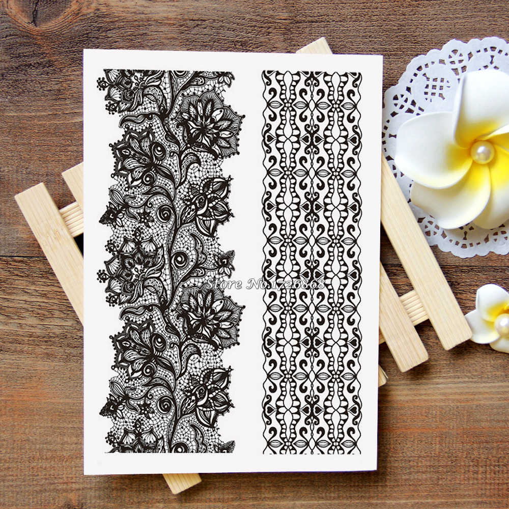 Waterproof Metallic Gold Silver White Temporary Tattoo For Black India Henna Tattoo Love Flower Pattern #012