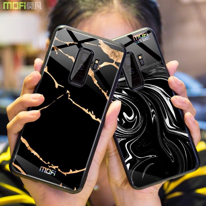 Per samsung s9 caso Mofi per samsung s9 più la cassa di vetro duro per il caso di samsung s9 di marmo a grana nero bianco per galaxy s9 più