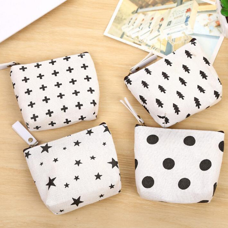 M150 Canvas Women Coin Purses Simple  Nordic Style Dot Small Tree Star Sign Small Change Wallet Wholesale