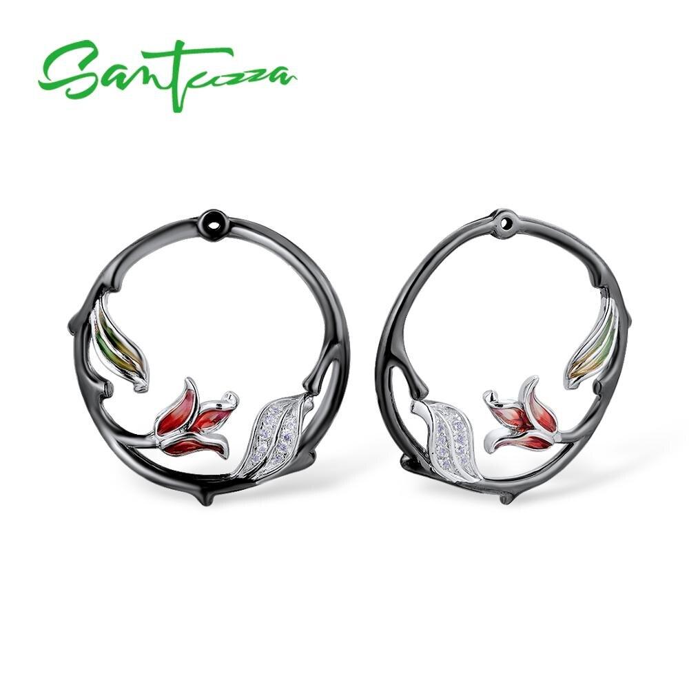 SANTUZZA conjunto de joyas de plata para las mujeres rama pendientes flor colgante de plata de ley 925 joyería de moda de esmalte - 6