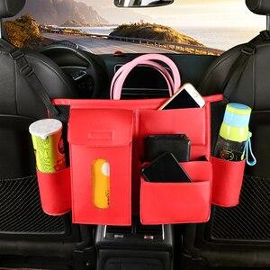 Image 2 - Sac de rangement universel pour siège de voiture, 1x sac de rangement pour siège de voiture, boîte de rangement multifonctionnelle en cuir PU