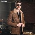 2016 Men's real leather jacket pigskin denim double face fur jackets Genuine Leather jacket men leather coat M2015-93