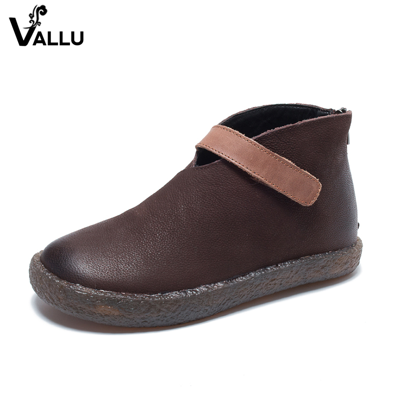 2018 VALLU New Arrival Genuine Leather Shoes Women Flat Boots Round Toes Back Zipper Ladies Ankle Boots 2018 vallu new leather shoes women ankle boots round toes buckle zipper handamde vintage flat platform ladies boots