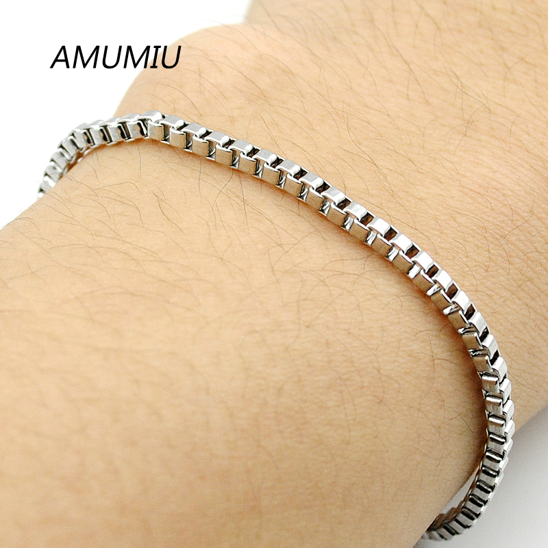 AMUMIU 099 Jewelry Gents Ladies Bracelet Stainless Steel 3MM Box Chain HZB089