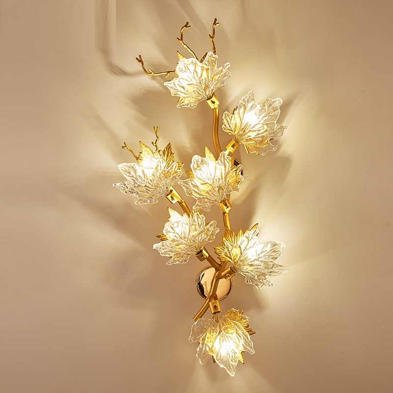 New modern crystal wall lamp designer maple leaf wall lamp light luxury creative gold living room lamp hotel decoration LED lamp